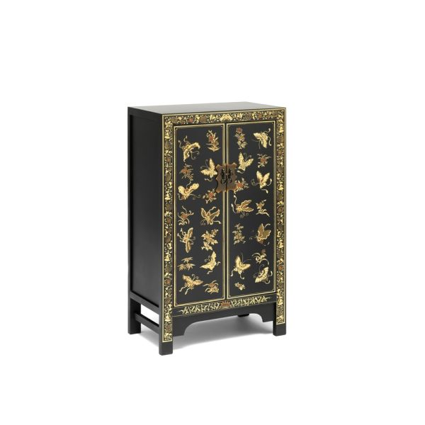 The Nine Schools Oriental Decorated Black Medium Cabinet