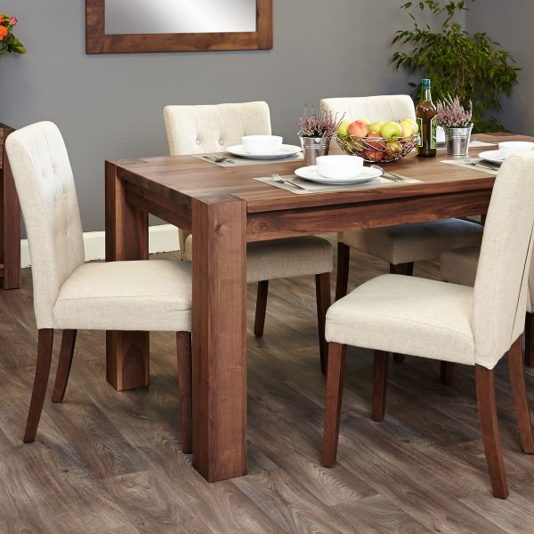 Shiro Walnut 6-8 seat table and 6 cream chairs