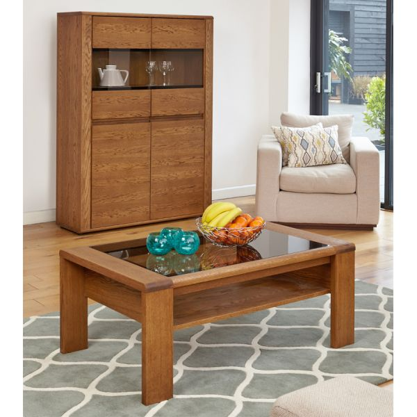 Olten Oak Glazed Coffee Table with Shelf