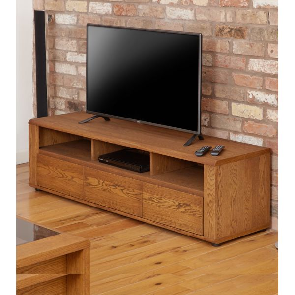 Olten Oak Widescreen TV Cabinet with Three Drawers