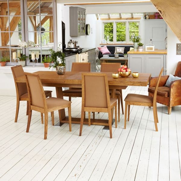 Olten Dark oak six seat extending dining table with six mocha chairs