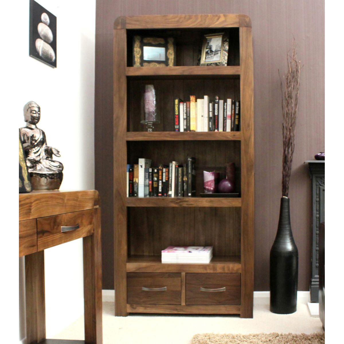 Buy Shiro Walnut Large Bookcase Online At Wooden Furniture