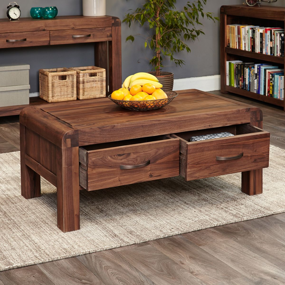 Indore Coffee Table With 6 Drawers: Shiro Walnut Four Drawer Coffee Table
