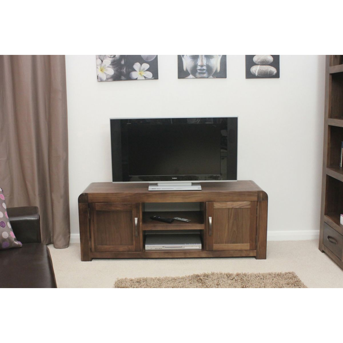 Buy shiro walnut widescreen television cabinet online at for B q living room units