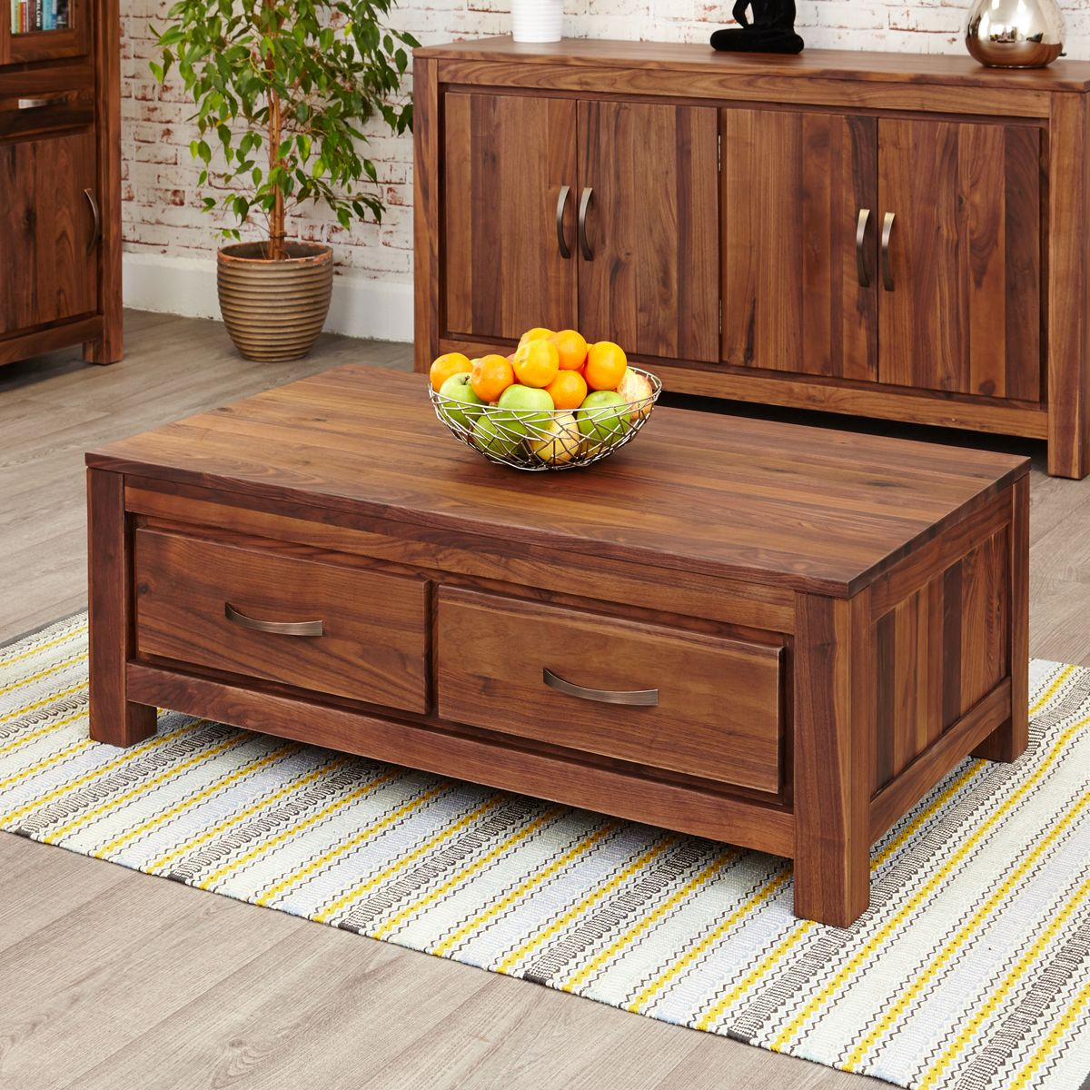 Mayan Walnut Low Four Drawer Coffee Table Wooden