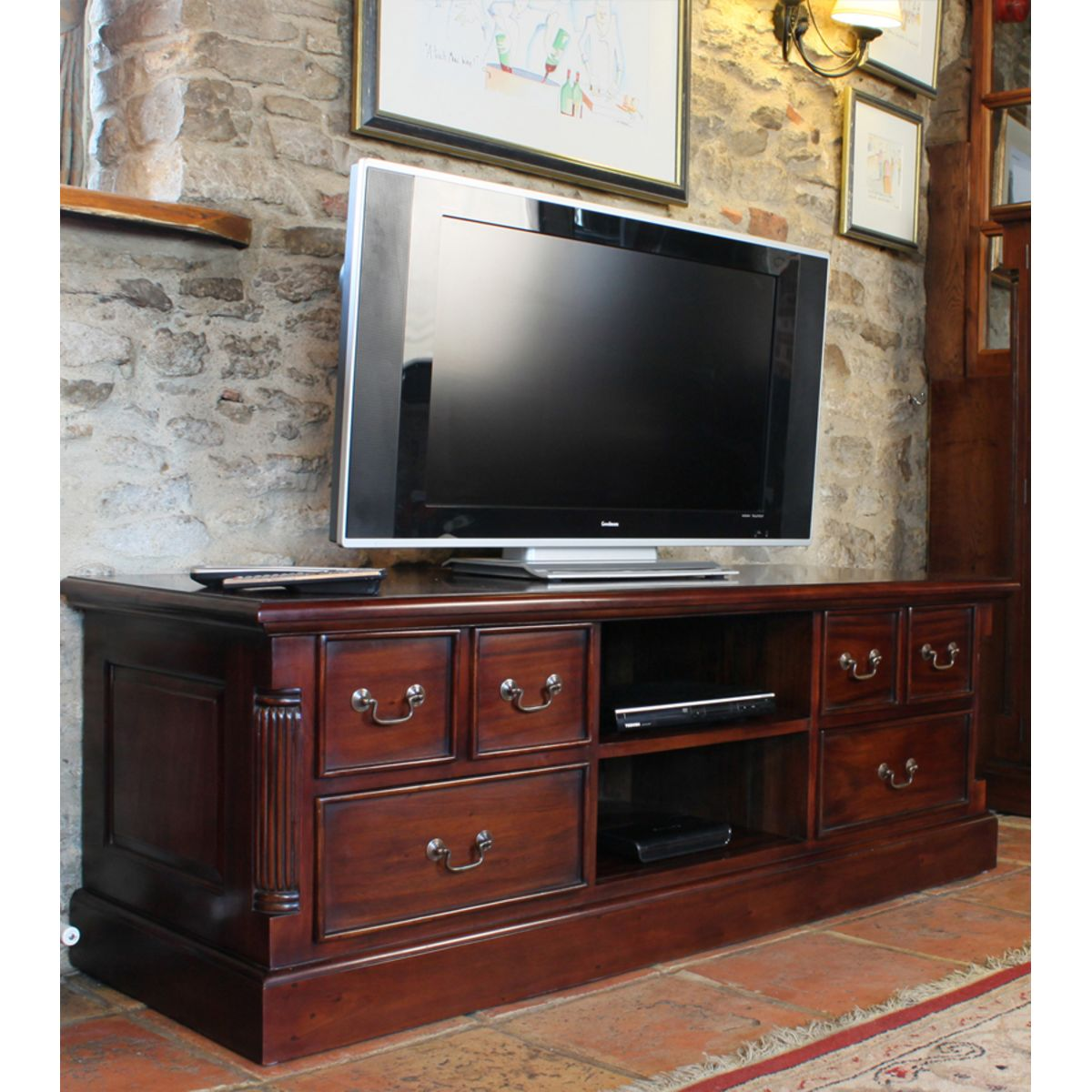 Mahogany Widescreen Television Cabinet Wooden Furniture