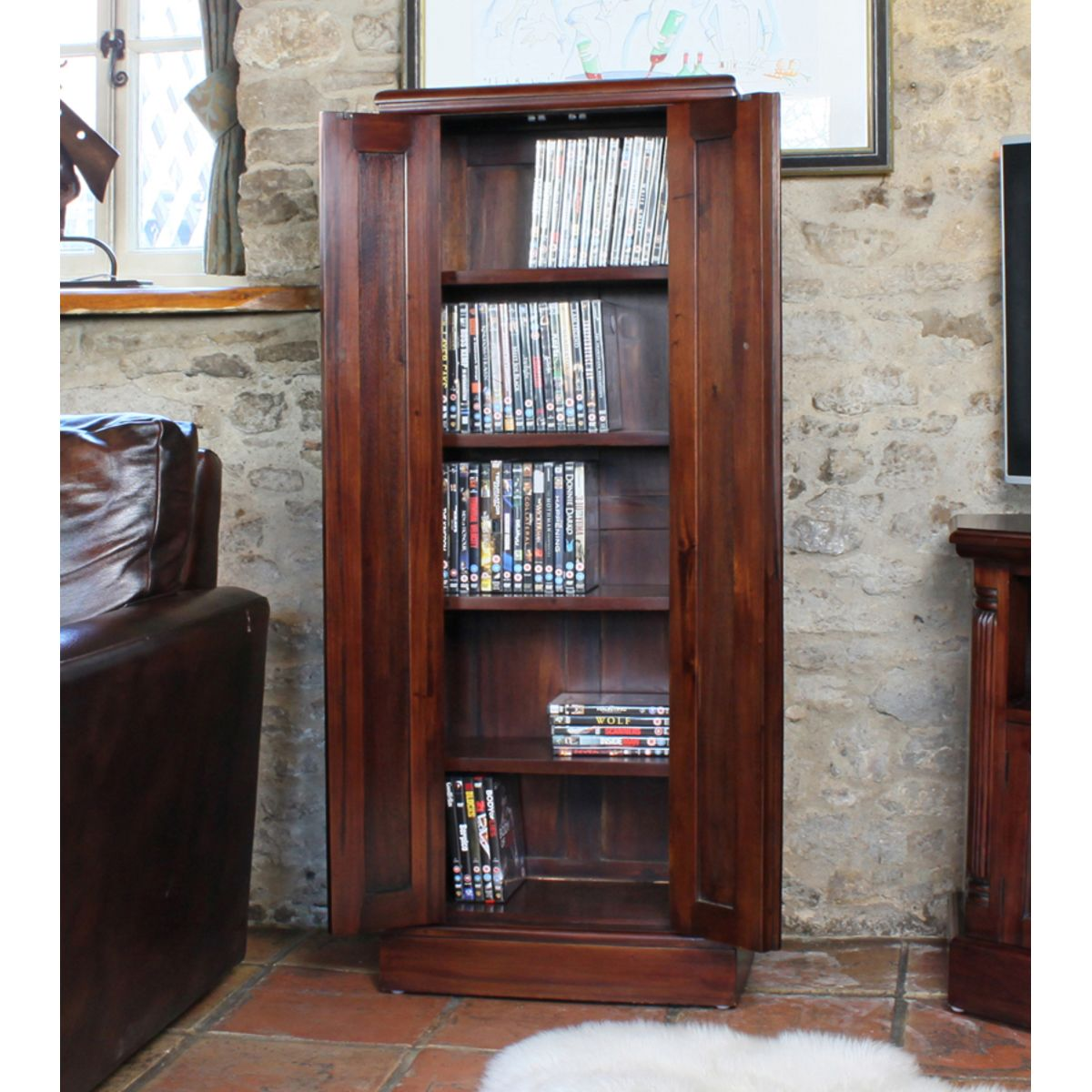Mahogany Cd Dvd Cupboard Wooden Furniture Store