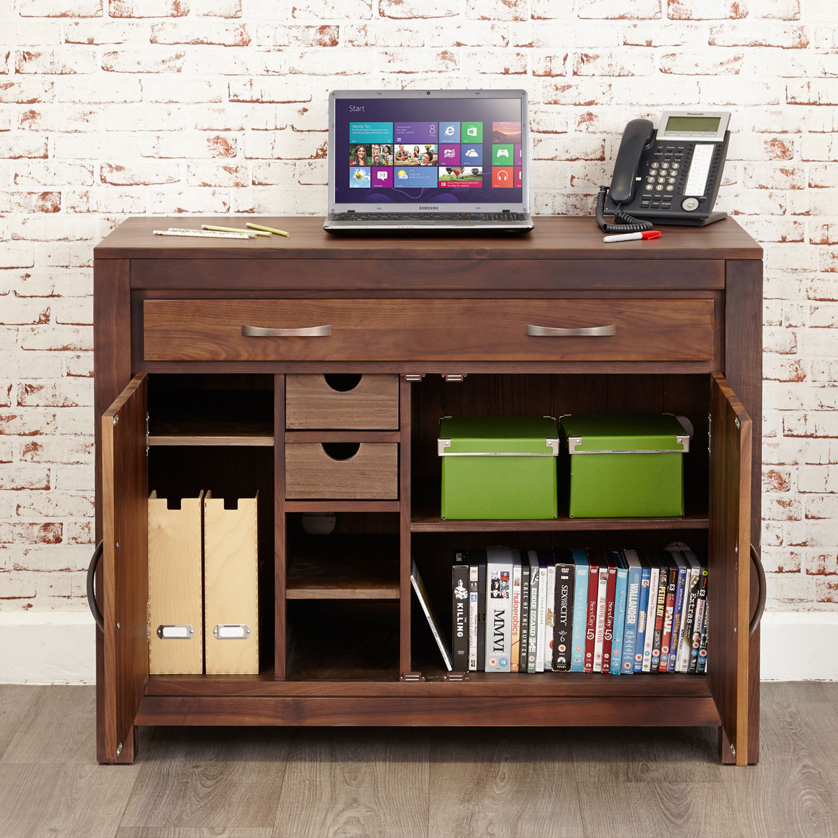 Mayan Walnut Hidden Home Office Wooden Furniture Store