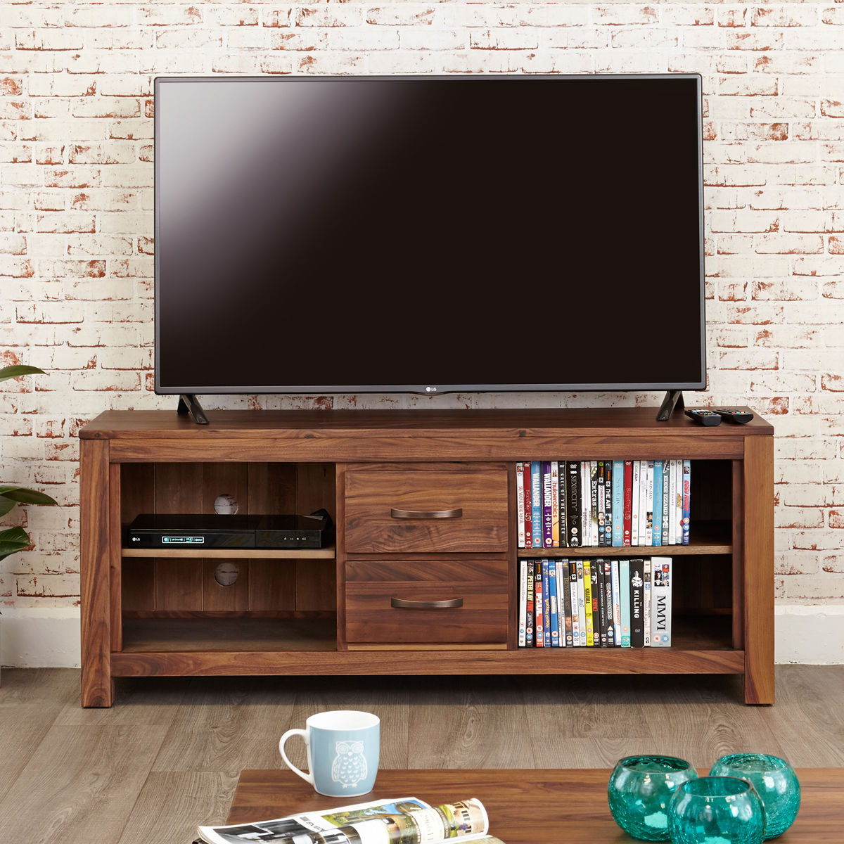 Mayan Walnut Widescreen Television Cabinet Wooden