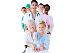 Team of medical staff and patients