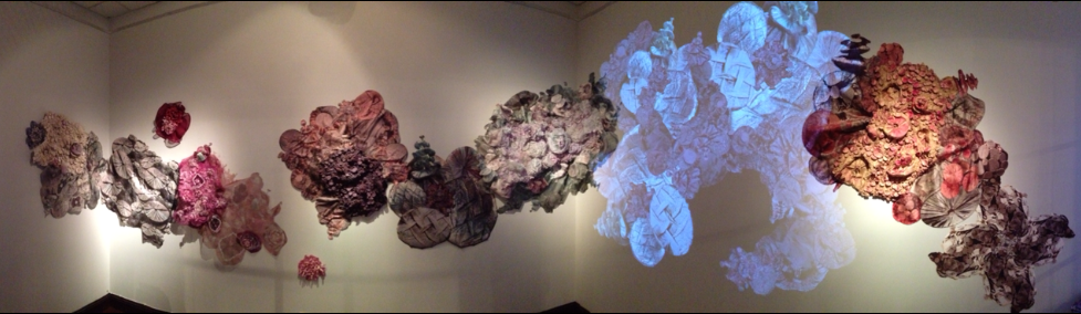 Large silk shibori installation with dimensional silk, printed silk and virtual projection