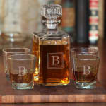 Personalized 5-Piece Whiskey Decanter and Rocks Glass Set