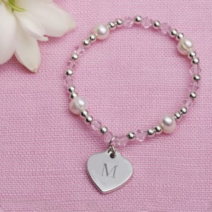 Crystal Bracelet With Heart Charm for Flower Girls