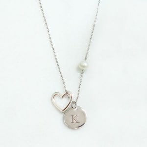 Personalized Open Heart Charm Necklace