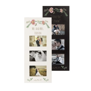 Personalized Floral Wedding Collage Frame, choice of Black or White
