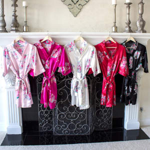 Personalized Floral Satin Robe