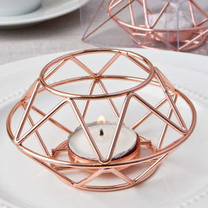 Geometric Rose Gold Tea Light Holder