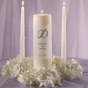 Pearl Wedding Unity Candle and Tapers