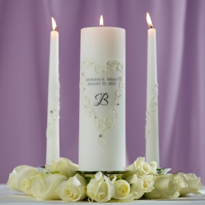 Lace and Crystals Wedding Unity Candle