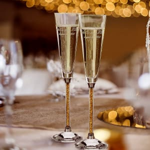Oleg Cassini Golden Diamond Crystal Toasting Flutes