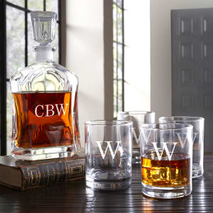 Personalized Decanter and Double Rocks Glasses, Set of 5