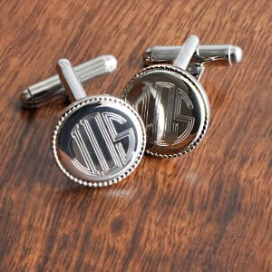 Round Cufflinks With Beaded Border