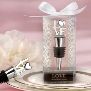 LOVE Chrome Bottle Stopper Favor
