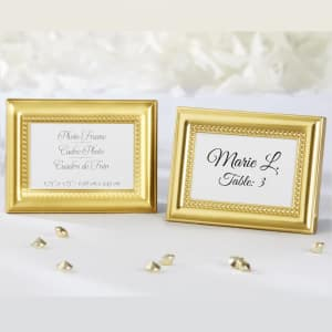 Gold Beaded Place Card Holder Favor Frame