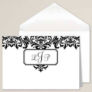 Monogrammed Damask Thank You Note