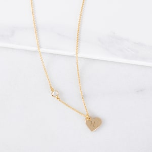 Personalized Heart Necklace with Bezel Crystal