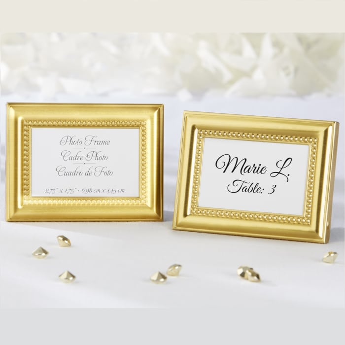 Gold Beaded Place Card Holder Favor Frame | Exclusively Weddings