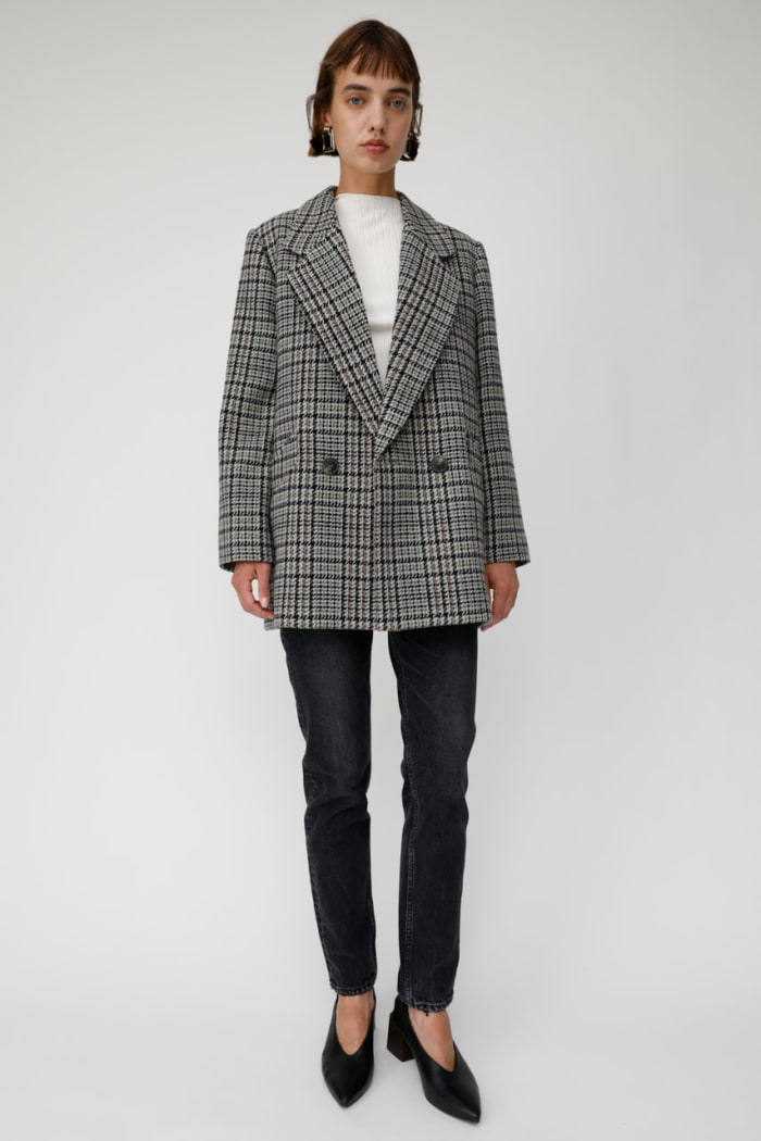 MIDDLE LENGTH CHECK coat