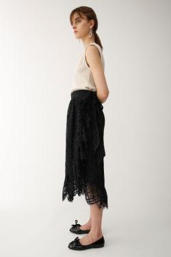 LACE RUFFLE WRAP skirt
