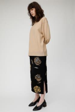 ROSES MOTIF Jacquard Knit Skirt