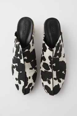 JUTE ROUND HEEL COW MULES