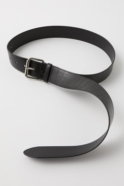 EMBOSSED LONG FAUX LEATHER BELT