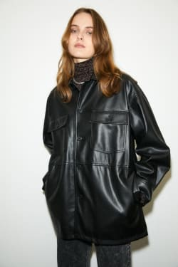 FAUX LEATHER OVER SHIRT