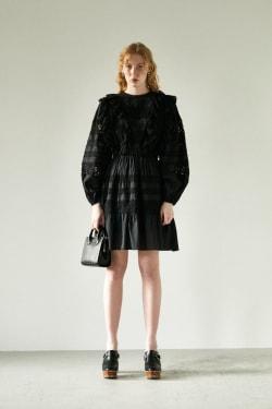 COTTON LACE RUFFLE mini dress