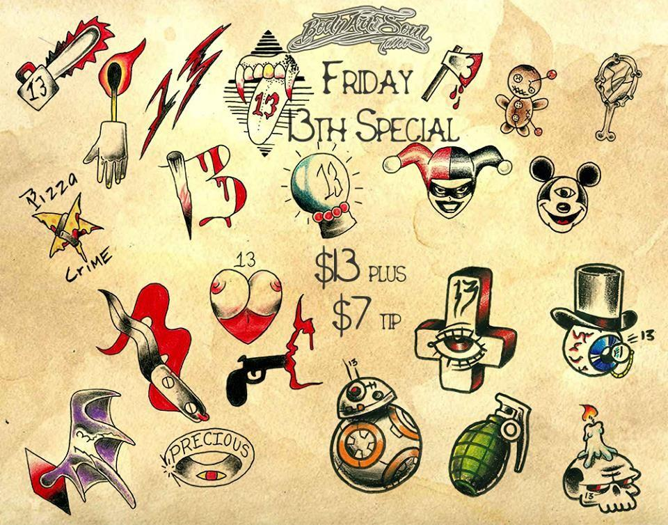 Get inked on friday the 13th for Lucky 13 tattoo piercing prices