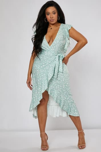 e1940d3aafb8b CURVE BILLIE FAIERS SAGE GREEN DITSY FLORAL FRILL WRAP FRONT MIDI DRESS