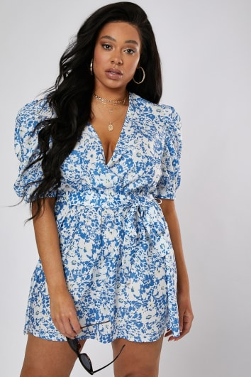 CURVE LAURA JADE BLUE FLORAL PUFF SLEEVE WRAP DRESS