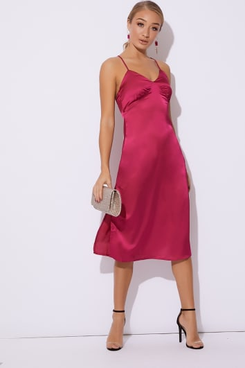 ABIAH PINK SATIN MIDI SLIP DRESS