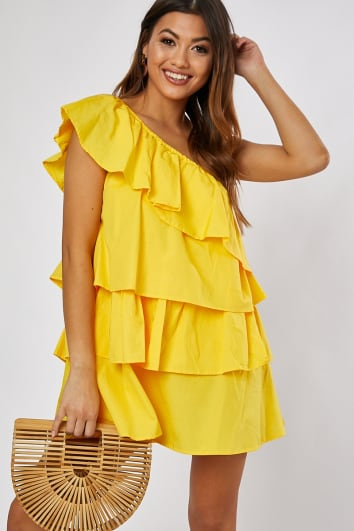 ALIENOR YELLOW COTTON POPLIN FRILL ONE SHOULDER DRESS