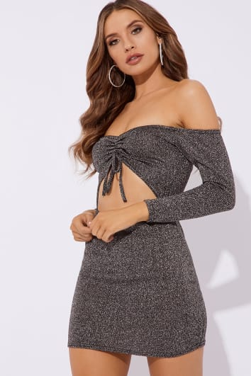 SOCORRO SILVER BARDOT RUCHED LUREX MINI DRESS