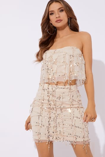 NOELETTA NUDE SEQUIN TASSEL MINI SKIRT