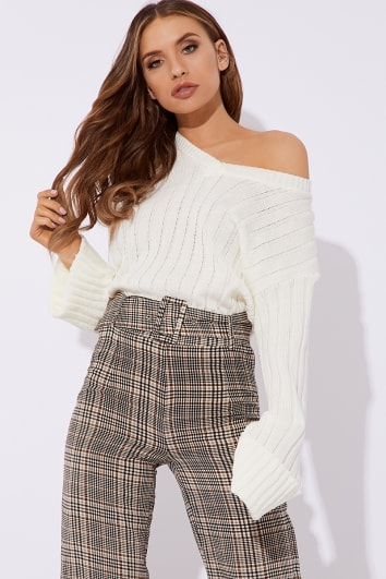ADIRA CREAM V NECK OVERSIZED RIBBED JUMPER