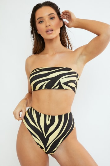 FINLEY YELLOW ZEBRA HIGH LEG BIKINI BOTTOMS