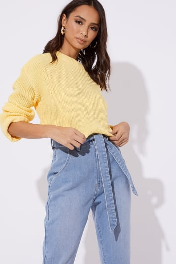 HOLLIE LEMON RIBBED CREW NECK OVERSIZED JUMPER