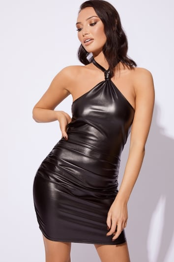 KYLIE PU HALTER BODYCON RUCHED DRESS