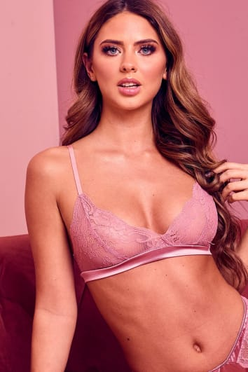 ILIZA ROSE PINK SATIN AND LACE BRA